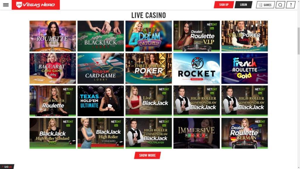 Vegas Hero Live Casino